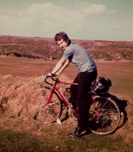 Me c1978 in Cornwall, bike resprayed red
